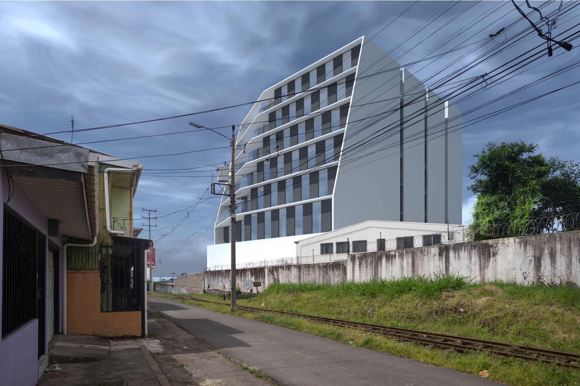 Oficinas Contemporaneas frente a la linea del tren